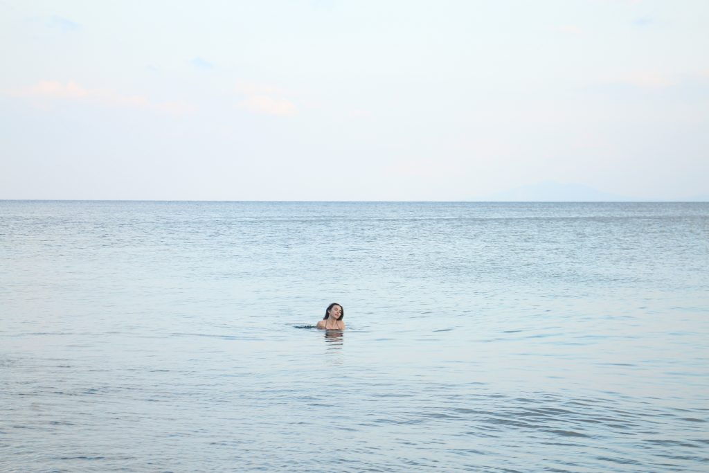 The perfect holiday: swimming in the sea