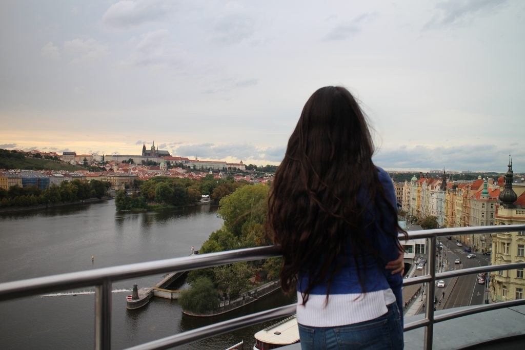 Admiring Prague from the terrace of the Dancing House.