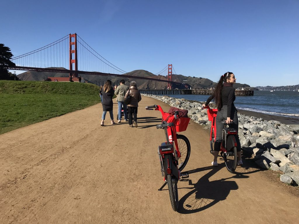 Riding Jump Bikes across the Golden Gate Bridge