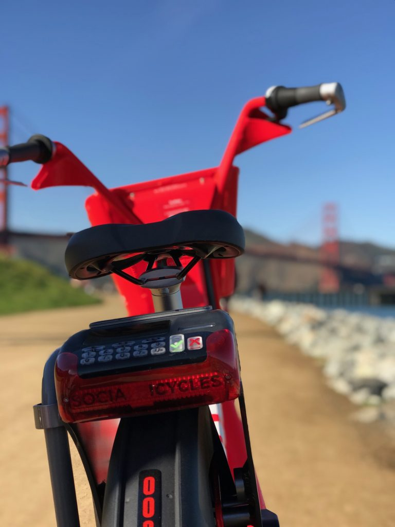 Preparing to cross the Golden Gate on our Jump Bikes