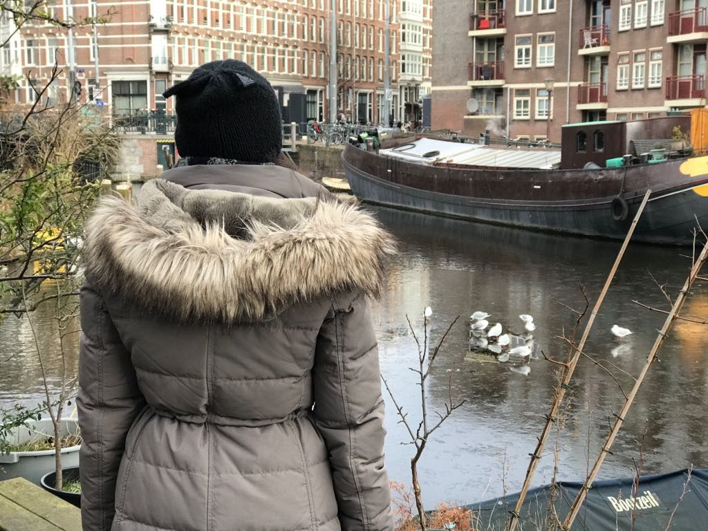 Ice on the canals of Amsterdam, February 2018