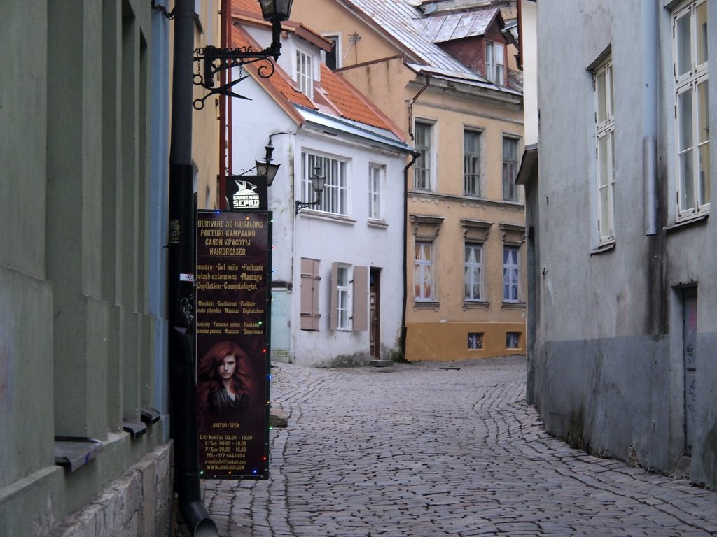 Mediaval street in Tallinn, Estonia